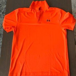 Orange Under Armour golf shirt.